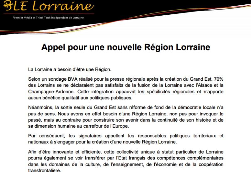 Un Appel pour dire Oui à la Lorraine